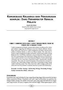 Komunikasi Keluarga dan Pengurusan konflik: Dari Persepektif Remaja Melayu