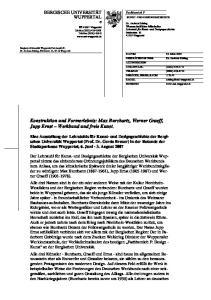Konstruktion und Formerlebnis: Max Burchartz, Werner Graeff, Jupp Ernst Werkbund und freie Kunst
