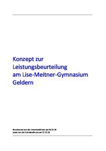 Konzept zur Leistungsbeurteilung am Lise-Meitner-Gymnasium Geldern