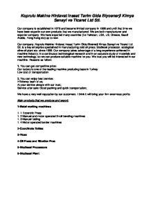 Koprulu Makine Hirdavat Insaat Tarim Gida Biyoenerji Kimya Sanayi ve Ticaret Ltd Sti