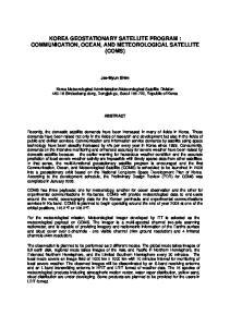 KOREA GEOSTATIONARY SATELLITE PROGRAM : COMMUNICATION, OCEAN, AND METEOROLOGICAL SATELLITE (COMS)