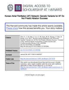 Korean Atrial Fibrillation (AF) Network: Genetic Variants for AF Do Not Predict Ablation Success