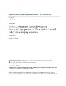 Korea's Competition Law and Policies in Perspective Symposium on Competition Law and Policy in Developing Countries