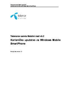 Korisničko uputstvo za Windows Mobile SmartPhone
