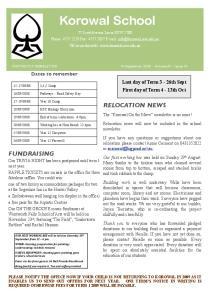 Korowal School. FORTNIGHTLY NEWSLETTER 15 September, Volume 31 - Issue 10