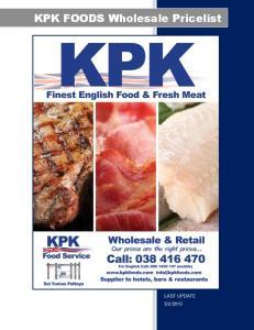 KPK FOODS Wholesale Pricelist