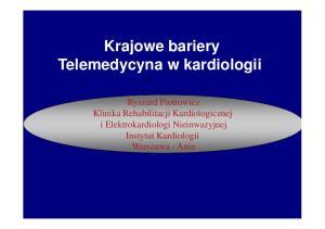 Krajowe bariery Telemedycyna w kardiologii