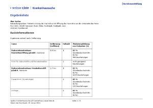 Krankenhaussuche. Ergebnisliste. Basisinformationen