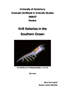 Krill fisheries in the Southern Ocean