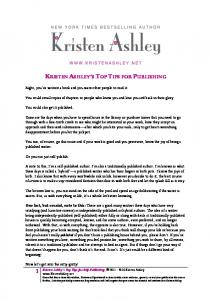 KRISTEN ASHLEY S TOP TIPS FOR PUBLISHING