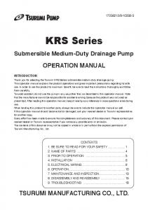 KRS Series. Submersible Medium-Duty Drainage Pump OPERATION MANUAL