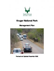 Kruger National Park. Management Plan