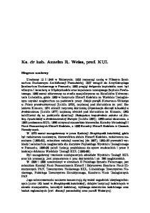 Ks. dr hab. Anzelm R. Weiss, prof. KUL Biogram naukowy