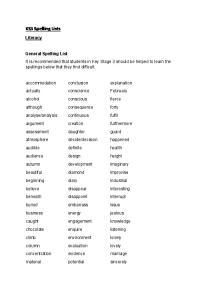 KS3 Spelling Lists. Literacy