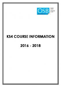 KS4 COURSE INFORMATION