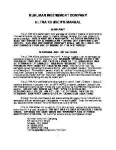 KUHLMAN INSTRUMENT COMPANY ULTRA K3 USER S MANUAL