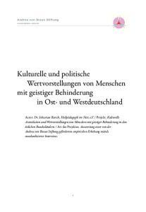 Kulturelle und politische Wertvorstellungen von Menschen mit geistiger Behinderung in Ost- und Westdeutschland