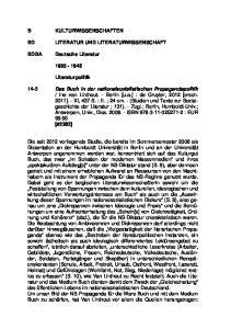 KULTURWISSENSCHAFTEN LITERATUR UND LITERATURWISSENSCHAFT. Deutsche Literatur Literaturpolitik