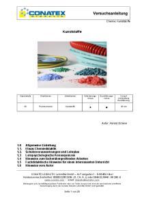 Kunststoffe. Chemie: Kunststoffe. Autor: Harald Scheve