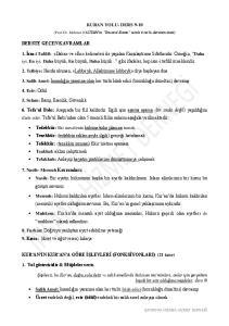 KURAN YOLU- DERS 9-10