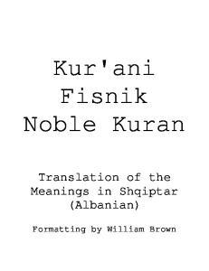 Kur'ani Fisnik Noble Kuran