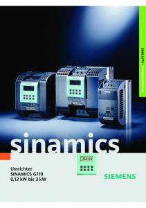 Kurzbeschreibung April sinamics. Umrichter SINAMICS G110 0,12 kw bis 3 kw