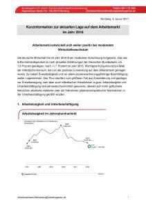 Kurzinformation zur aktuellen Lage auf dem Arbeitsmarkt im Jahr 2016