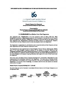 Kuwait Projects Co. (Cayman) (Incorporated with limited liability in the Cayman Islands)