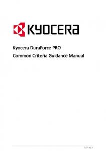 Kyocera DuraForce PRO Common Criteria Guidance Manual