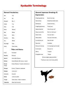 Kyokushin Terminology