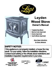 L e y d e n Wood Stove Owner's Manual