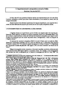 L experimentació catequística actual a Itàlia