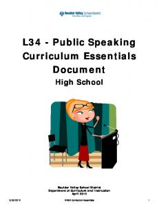 L34 - Public Speaking Curriculum Essentials Document