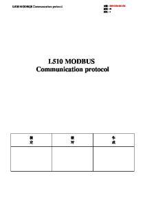 L510 MODBUS Communication protocol