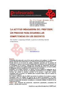 LA ACTITUD INDAGADORA DEL PROFESOR: UN PROCESO PARA DESARROLLAR