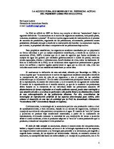 LA ACUICULTURA, SUS MODELOS Y EL POTENCIAL ACTUAL DEL PEJERREY COMO PEZ DE CULTIVO