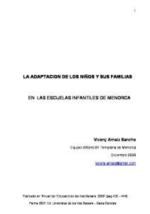 LA ADAPTACION DE LOS NIÑOS Y SUS FAMILIAS EN LAS ESCUELAS INFANTILES DE MENORCA