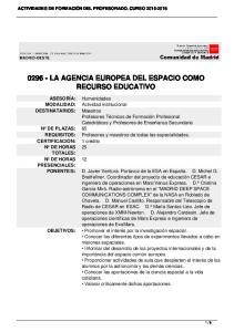 LA AGENCIA EUROPEA DEL ESPACIO COMO RECURSO EDUCATIVO
