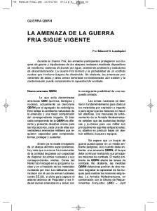 LA AMENAZA DE LA GUERRA FRIA SIGUE VIGENTE