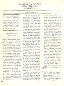LA ANEMIA FALCIFORME EN LA REPUBLICA DOMINICANA