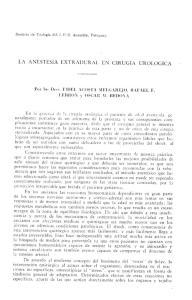 LA ANESTESIA EXTRADURAL EN CIRUGIA UROLOGICA