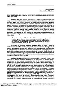 LA ANGUSTIA DEL SER-PARA-LA-MUERTE EN RESIDENCIA EN LA TIERRA DE PABLO NERUDA