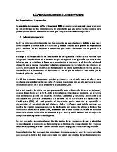 LA APERTURA DE MERCADOS Y LA COMPETITIVIDAD