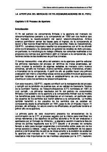 LA APERTURA DEL MERCADO DE TELECOMUNICACIONES EN EL PERU