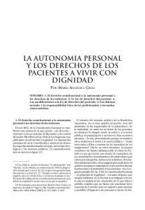 LA AUTONOMIA PERSONAL Y LOS DERECHOS DE LOS PACIENTES A VIVIR CON DIGNIDAD