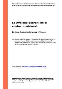 La Avaidad guaraní en el contexto misional