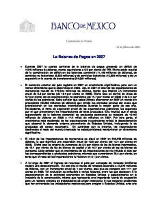 La Balanza de Pagos en 2007