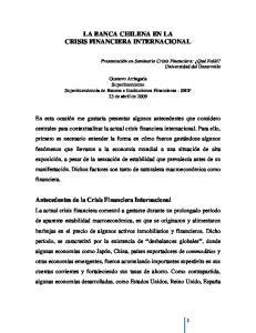LA BANCA CHILENA EN LA CRISIS FINANCIERA INTERNACIONAL