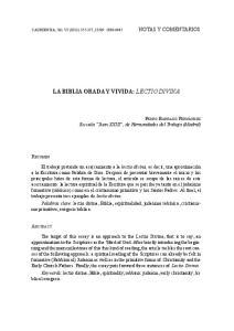 La Biblia orada y vivida: lectio divina