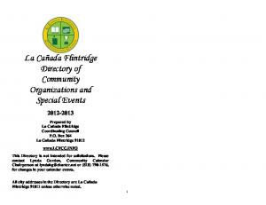La Cañada Flintridge Directory of Community Organizations and Special Events